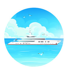 image a white-cruise liner on sea vector image