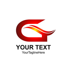 Initial letter g logo template colored red swoosh vector
