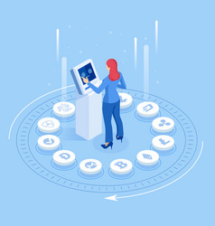 isometric cryptocurrency business people miner vector image