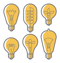 lectric bulb icon set vector image