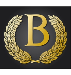Letter b and gold laurel wreath vector