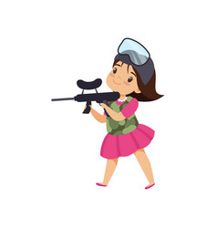 Lovely little girl playing paintball with gun vector