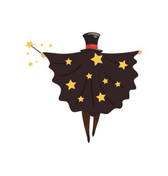 Magician in black mantle with stars and cylinder vector