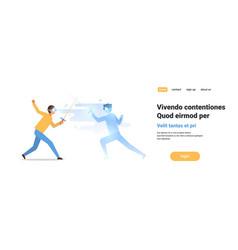 man fencer wear digital glasses fighting vector image