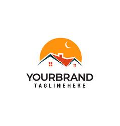 night building house logo template design vector image