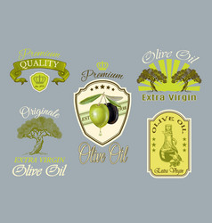 Oilve oil labels set vector image