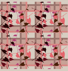 ornamental flowers stylized bird seamless pattern vector image