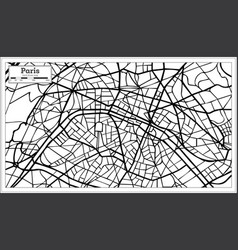 Paris france city map in black and white color vector