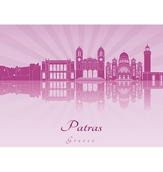 Patras skyline in purple radiant orchid vector image