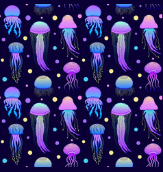 Pattern with hand drawn jellyfishes vector