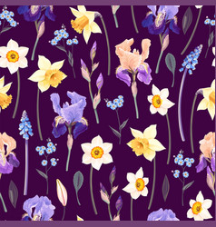 pattern with yellow and blue garden flowers vector image