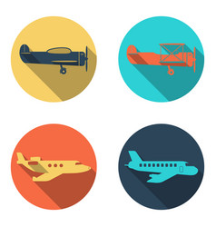 plane icons set flat design vector image