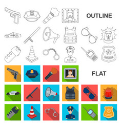 Police department flat icons in set collection vector