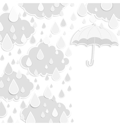 Rainy season background with raindrops and clouds vector image