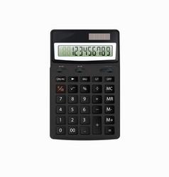 realistic black calculator on white vector image