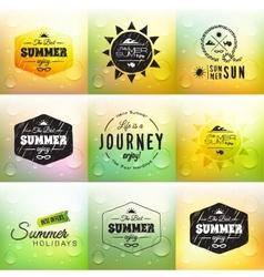 Retro summer label set in doodle sketch style vector image