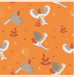 robin birds seamless pattern with leaves vector image