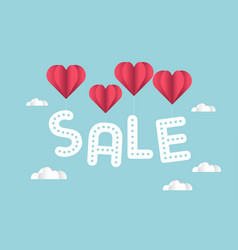 sale with heart shaped balloons vector image