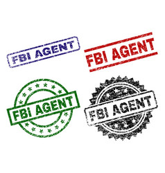 Scratched textured fbi agent seal stamps vector