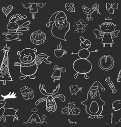 seamless pattern with cute penguinreindeerbear vector image
