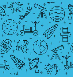 Seamless pattern with space icons in thin line vector