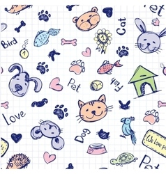 Seamless pet pattern hand drawing vector