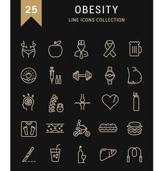 Set flat line icons obesity vector