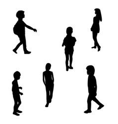 Set of black and white silhouette walking children vector