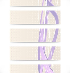 Set of business cards with purple swooshes vector