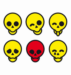 set of different smiles skulls icons vector image