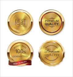 Set of gold metal badges vector image
