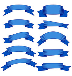 set of ten blue ribbons and banners for web design vector image