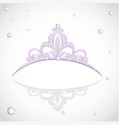 Shining violet tiara with diamonds on a white vector