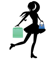 Shopping Girl with Bags Silhouette2 vector