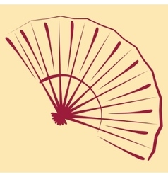 Sketched folding fan vector image