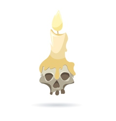 Skull with a candle isolated on a white background vector image