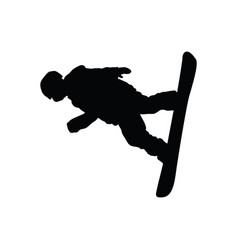snowboarder man silhouette vector image