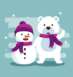 snowman and snow bear with scarf to christmas vector image