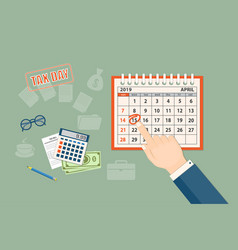 tax day with april 2019 page and showing finger vector image