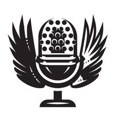 Template with microphone and wings on musical vector