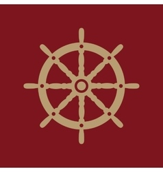 The ship steering wheel icon sailing symbol flat vector
