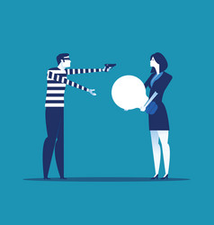 Thief stealing ideas from business person concept vector