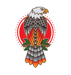 Traditional eagle tattoo flash vector