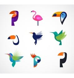 tropical birds - set icons vector image
