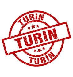 Turin red round grunge stamp vector