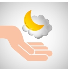 weather concept forecast cloud halfmoon icon vector image
