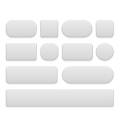 white buttons oval and round rectangle vector image
