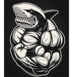 White shark bodybuilder vector