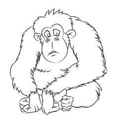 ape cartoon - line drawn vector image vector image