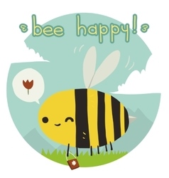 Cartoon funny bee happy flat icon vector image